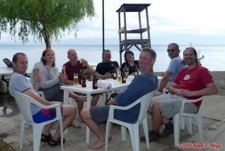 Makedonie, večeře na břehu Ohridského jezera v Izvidnički centar Ohrid